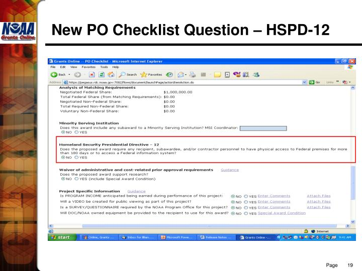 New PO Checklist Question – HSPD-12