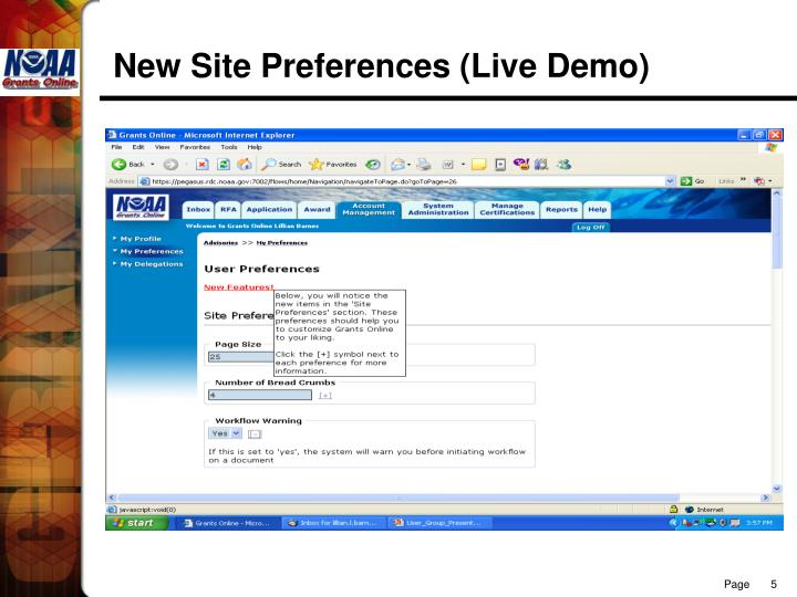 New Site Preferences (Live Demo)
