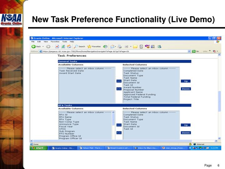 New Task Preference Functionality (Live Demo)