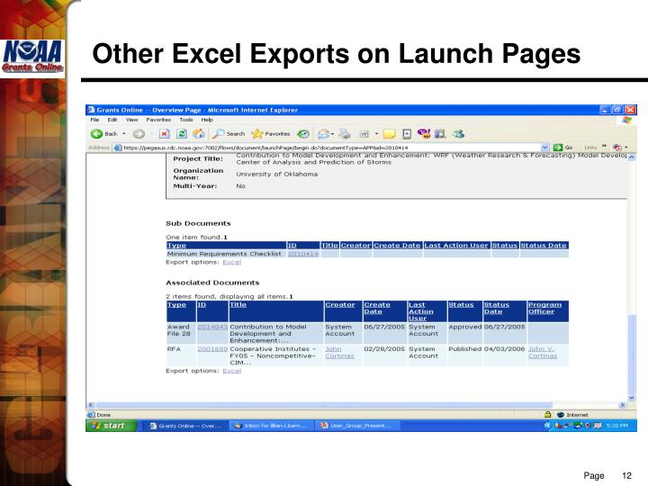 Other Excel Exports on Launch Pages