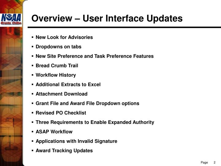 Overview – User Interface Updates