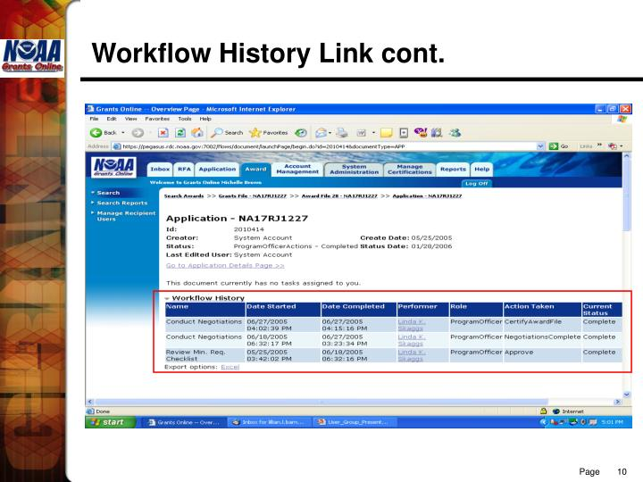 Workflow History Link cont.