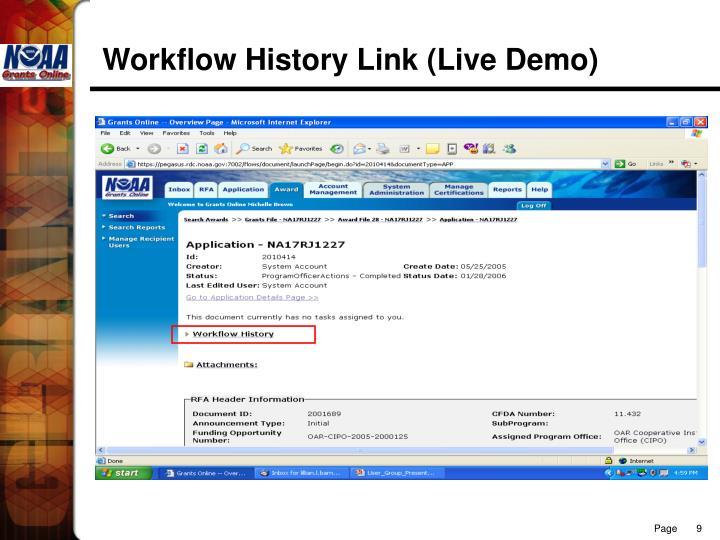 Workflow History Link (Live Demo)
