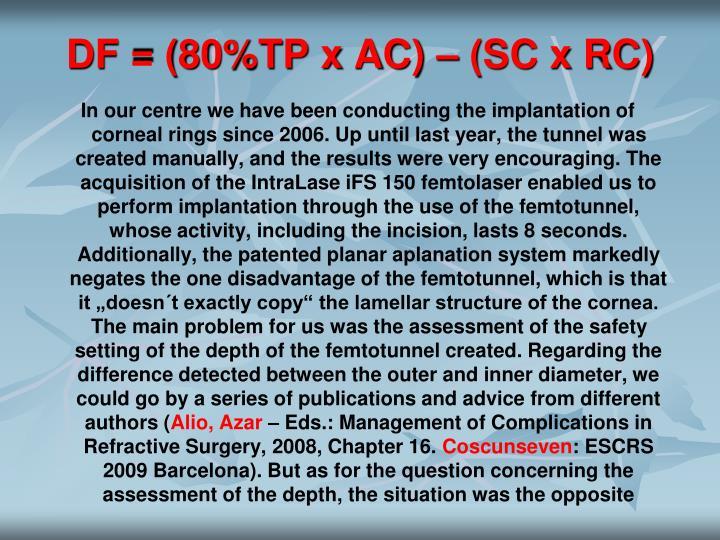 DF = (80%TP x AC) – (SC x RC)