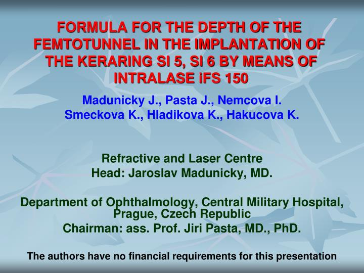 FORMULA FOR THE DEPTH OF THE FEMTOTUNNEL IN THE IMPLANTATION OF