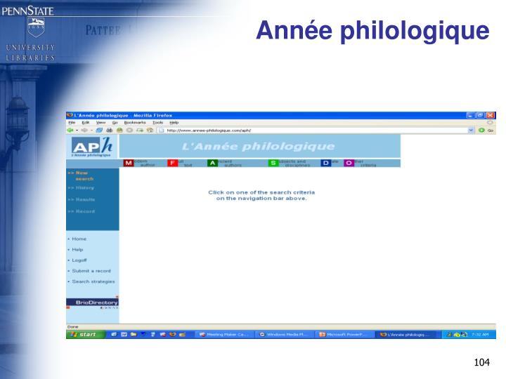Année philologique