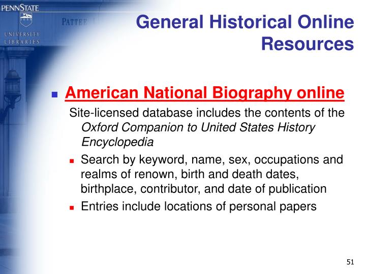General Historical Online Resources