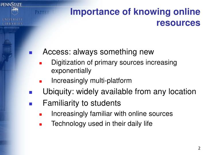 Importance of knowing online resources