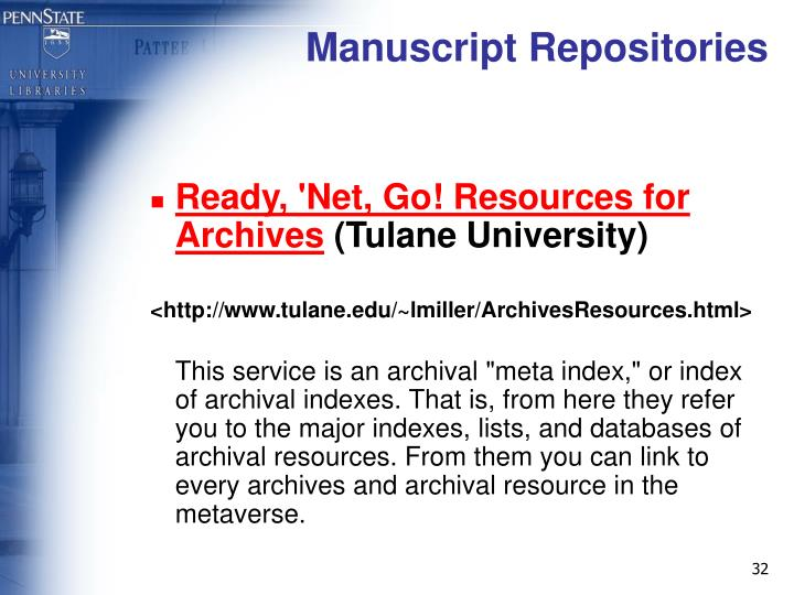 Manuscript Repositories