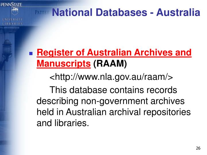National Databases - Australia