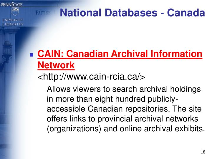 National Databases - Canada