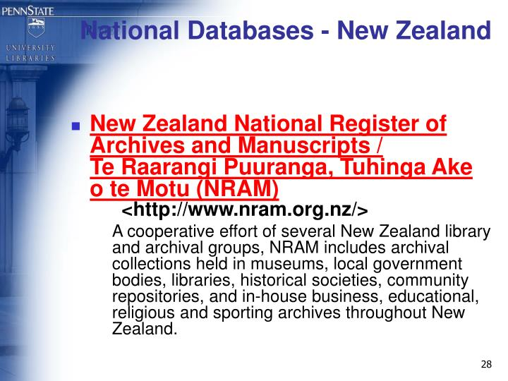 National Databases - New Zealand