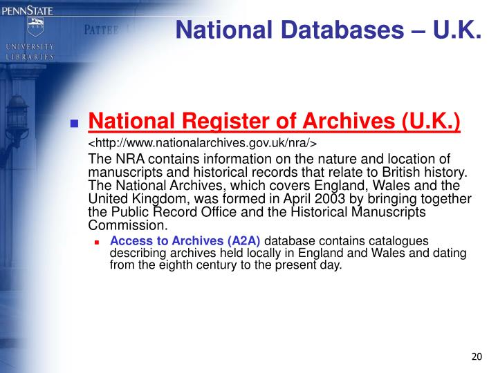 National Databases – U.K.