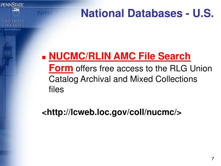 National Databases - U.S.