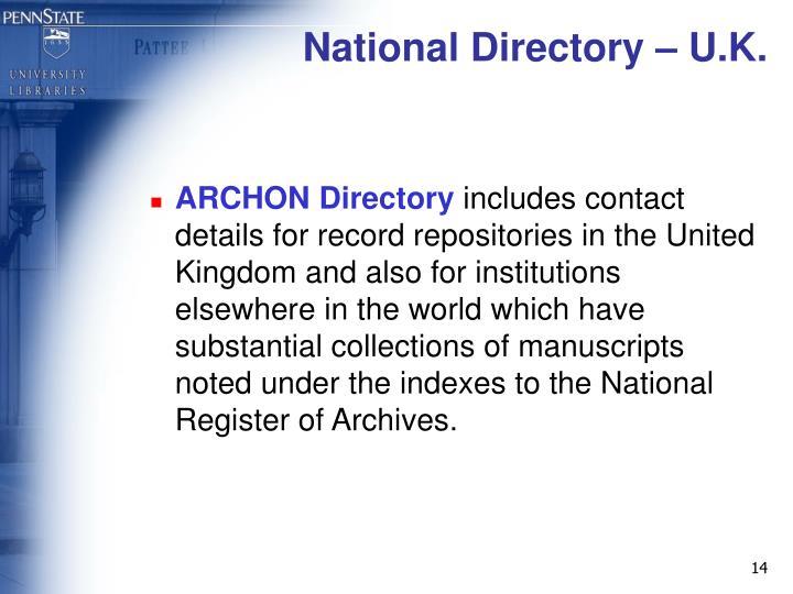 National Directory – U.K.