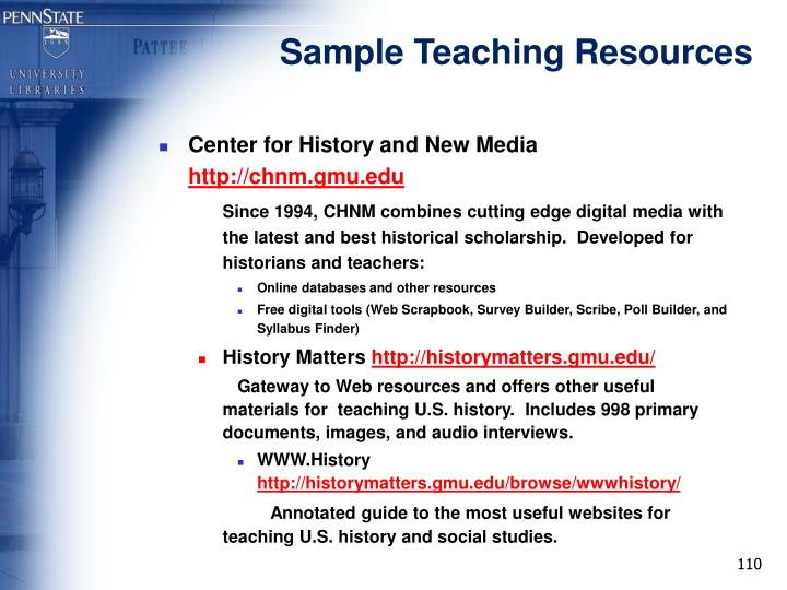 Sample Teaching Resources