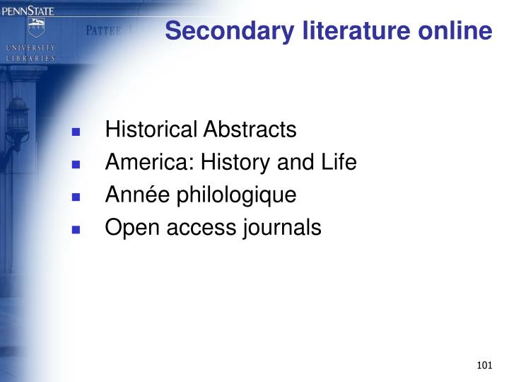Secondary literature online