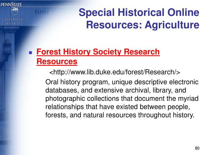 Special Historical Online Resources: Agriculture