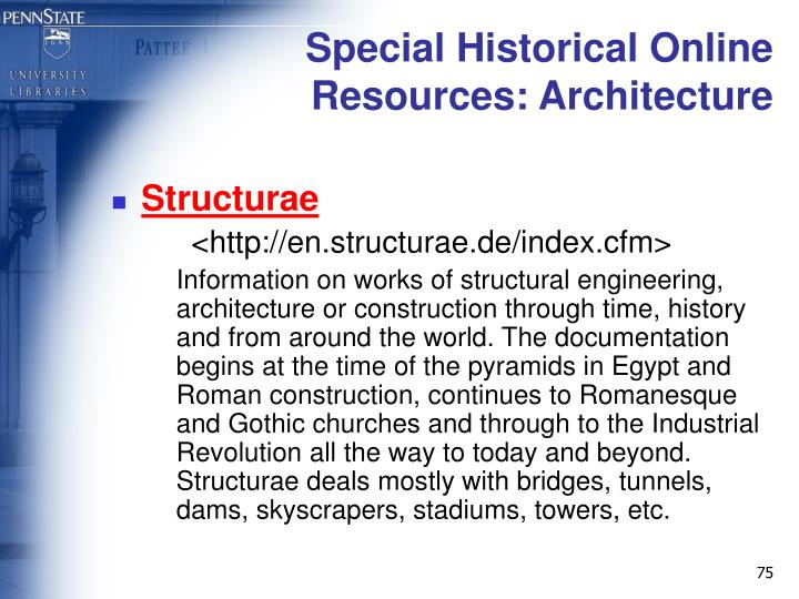 Special Historical Online Resources: Architecture