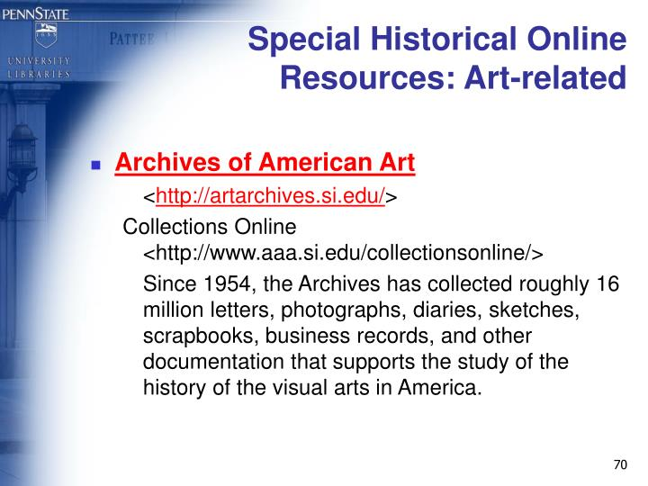 Special Historical Online Resources: Art-related