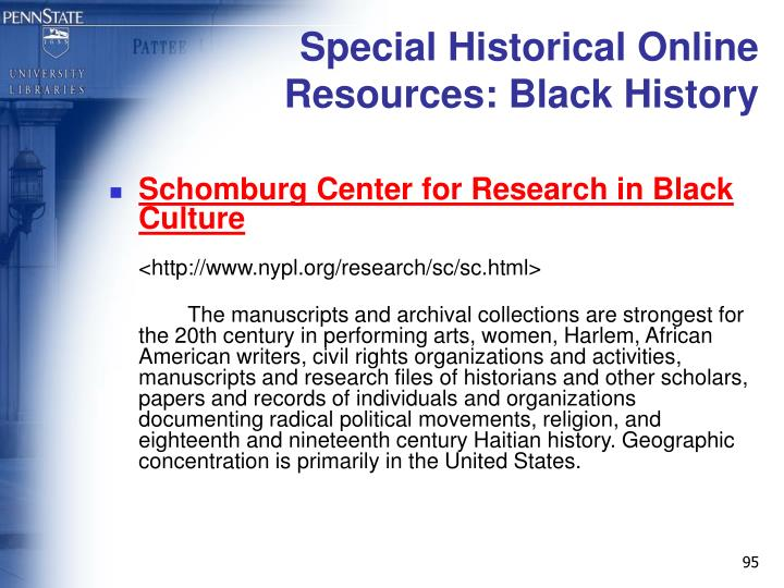 Special Historical Online Resources: Black History