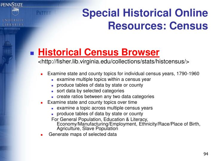 Special Historical Online Resources: Census