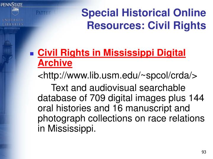 Special Historical Online Resources: Civil Rights