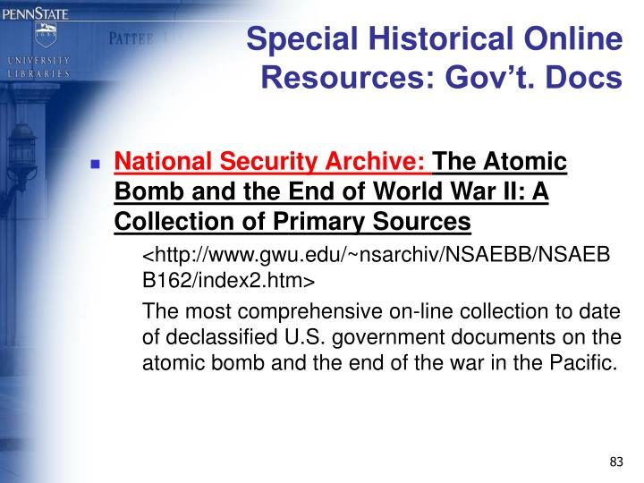 Special Historical Online Resources: Gov't. Docs