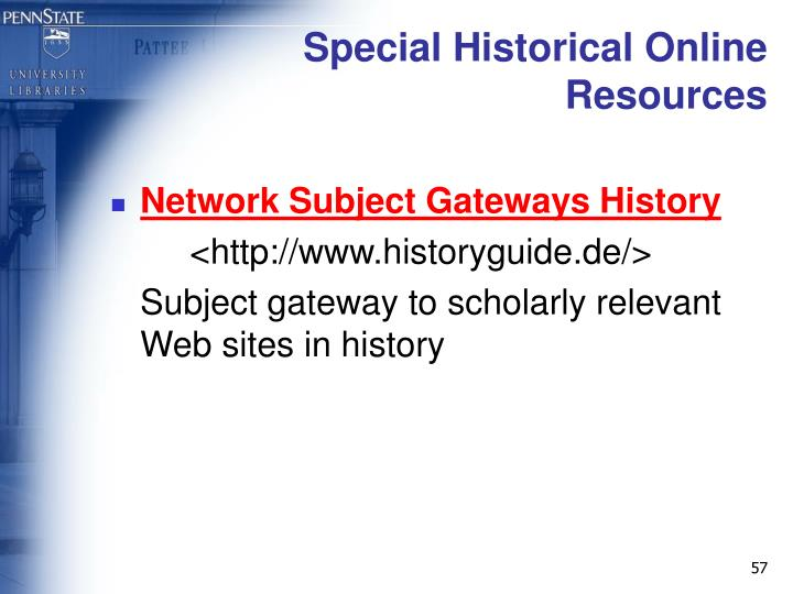 Special Historical Online Resources