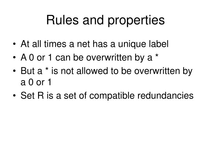 Rules and properties
