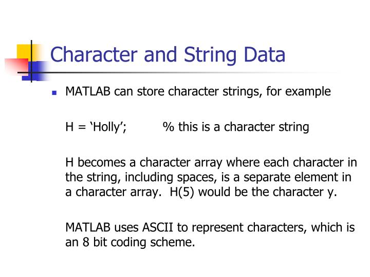 Character and String Data