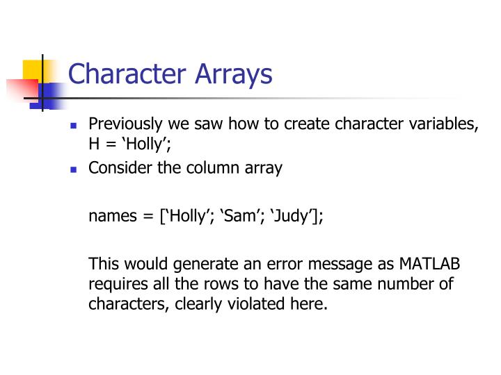 Character Arrays