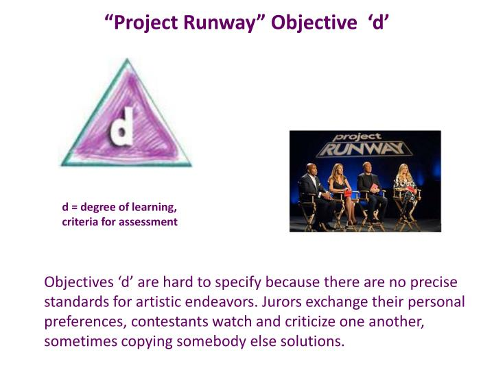 """Project Runway"" Objective  '"