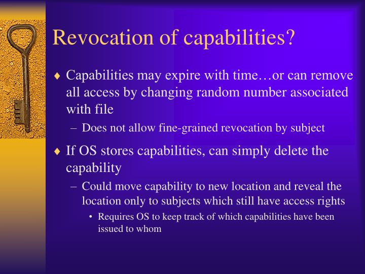 Revocation of capabilities?
