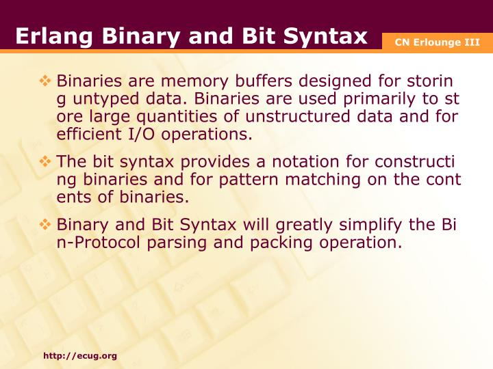 Erlang Binary and Bit Syntax