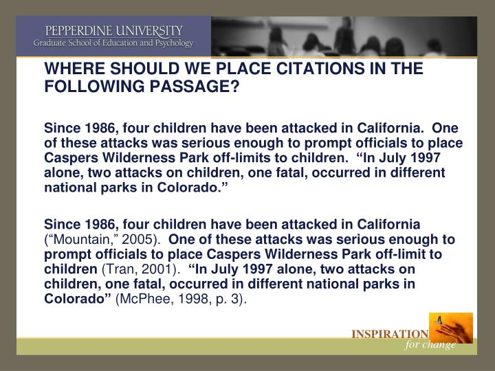 WHERE SHOULD WE PLACE CITATIONS IN THE FOLLOWING PASSAGE?