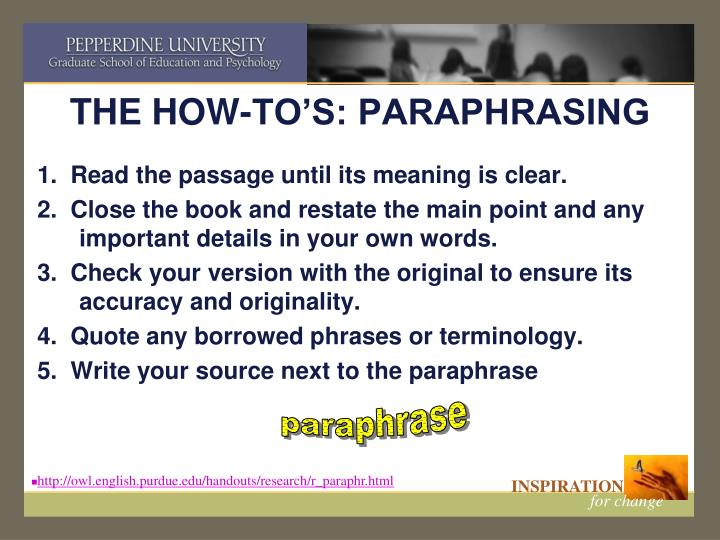 THE HOW-TO'S: PARAPHRASING