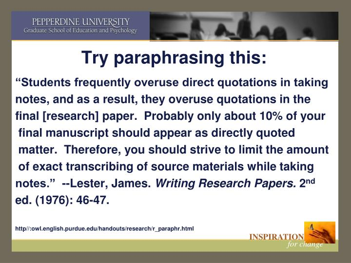 Try paraphrasing this: