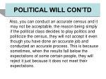 political will con td