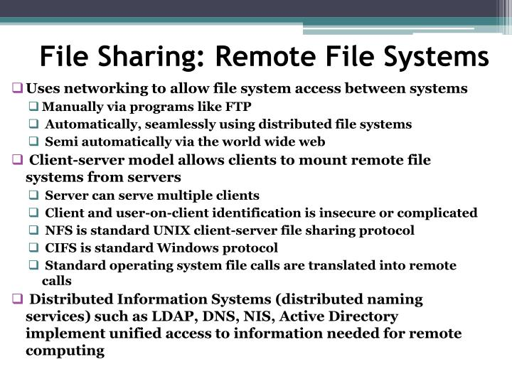 File Sharing: Remote File Systems