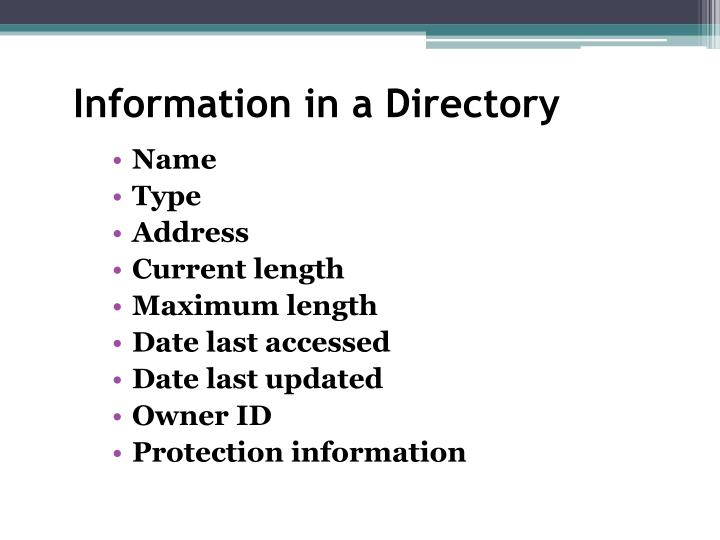 Information in a Directory