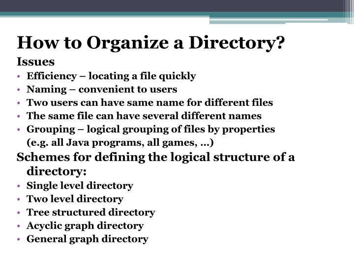 How to Organize a Directory?