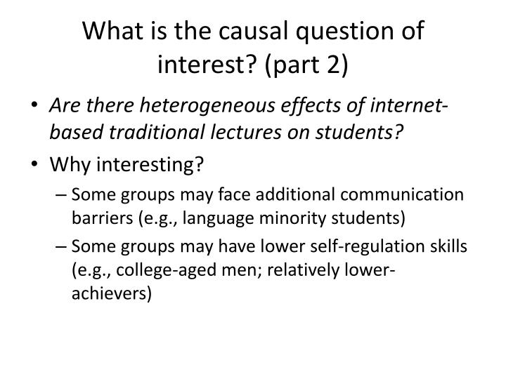 What is the causal question of interest? (part 2)