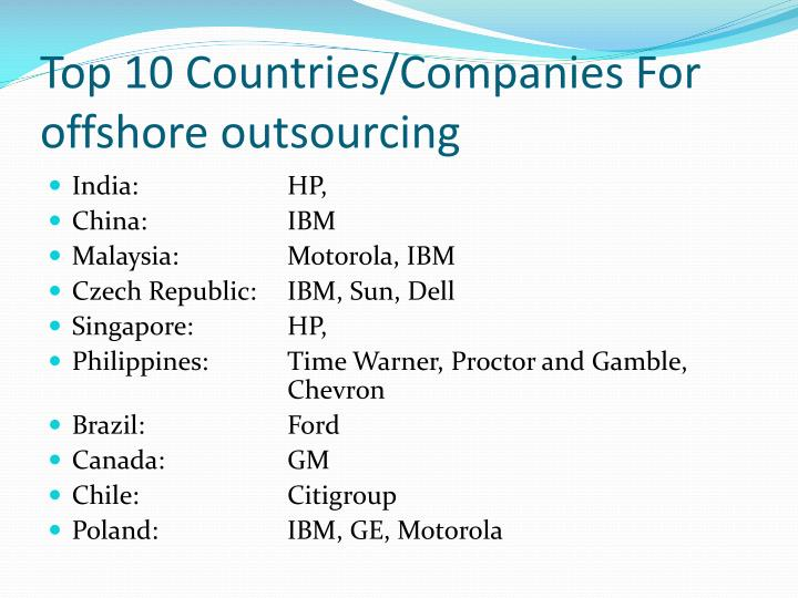 Top 10 Countries/Companies For offshore outsourcing