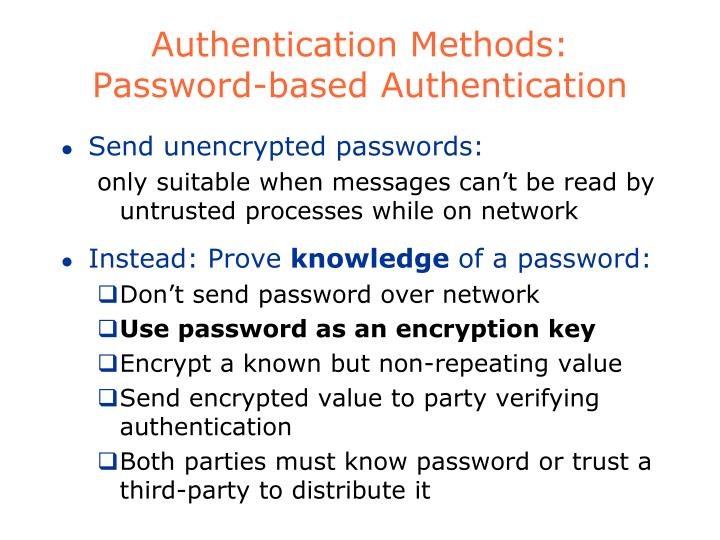 Authentication Methods: