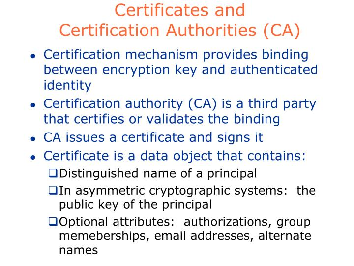 Certificates and