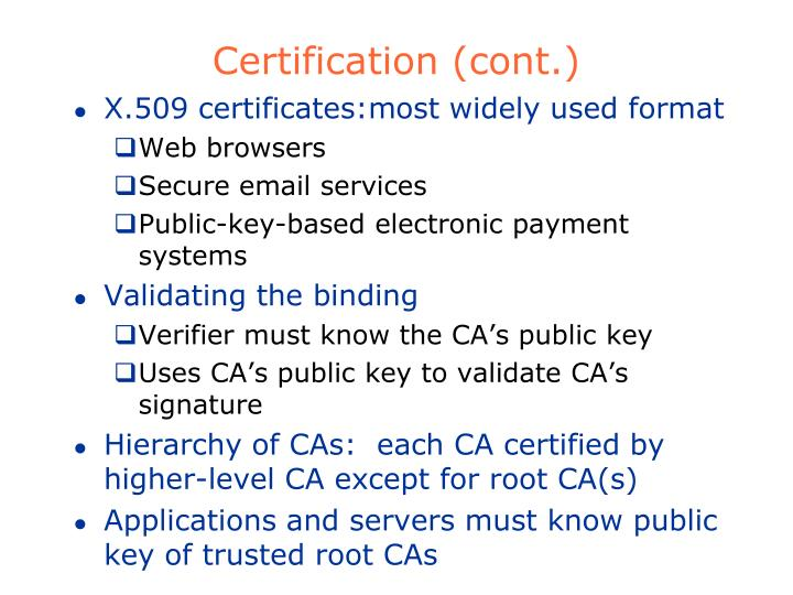 Certification (cont.)
