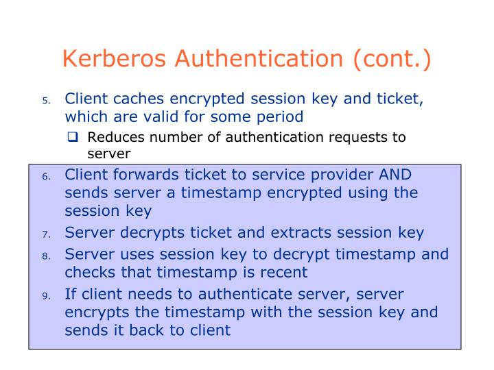 Kerberos Authentication (cont.)