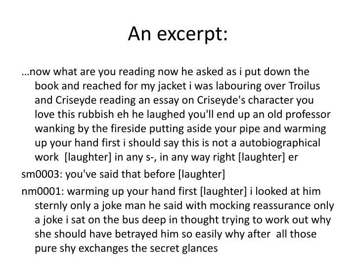 essay exzerpt