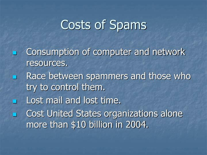 Costs of Spams
